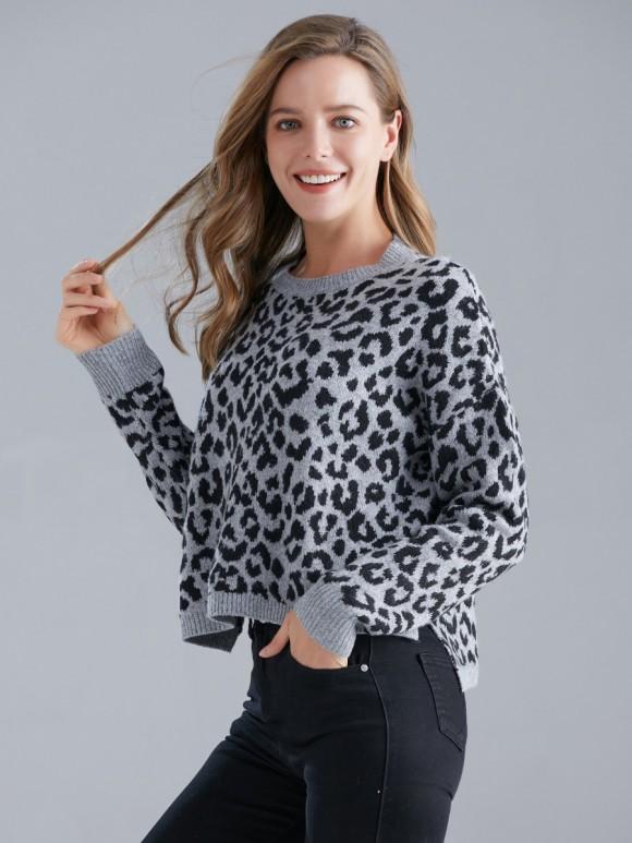 Italian Leopard Print Lana Wool Mix Knitted Jumper