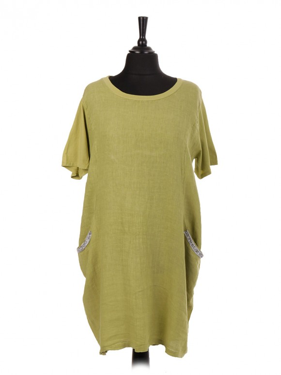Italian Linen Embellished Pockets Lagenlook Dress