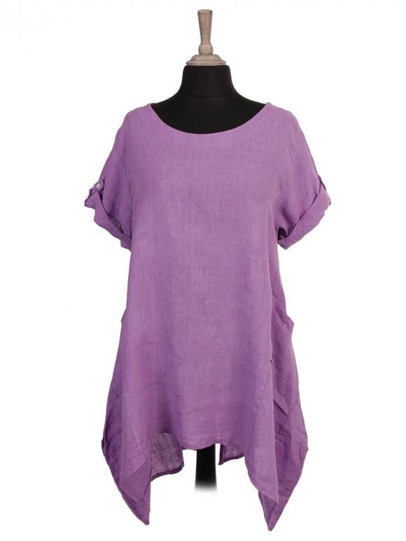 Italian Linen Front Pockets High Low Dress With Back Split