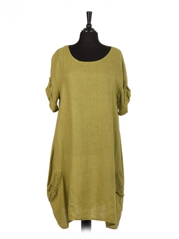 Italian Linen Lagenlook Dress With Crochet Pockets