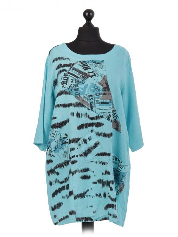 Italian Linen Printed Lagenlook Dress