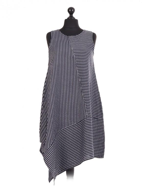 Italian Linen Stripe Asymmetric Cut  Sleeveless Dress