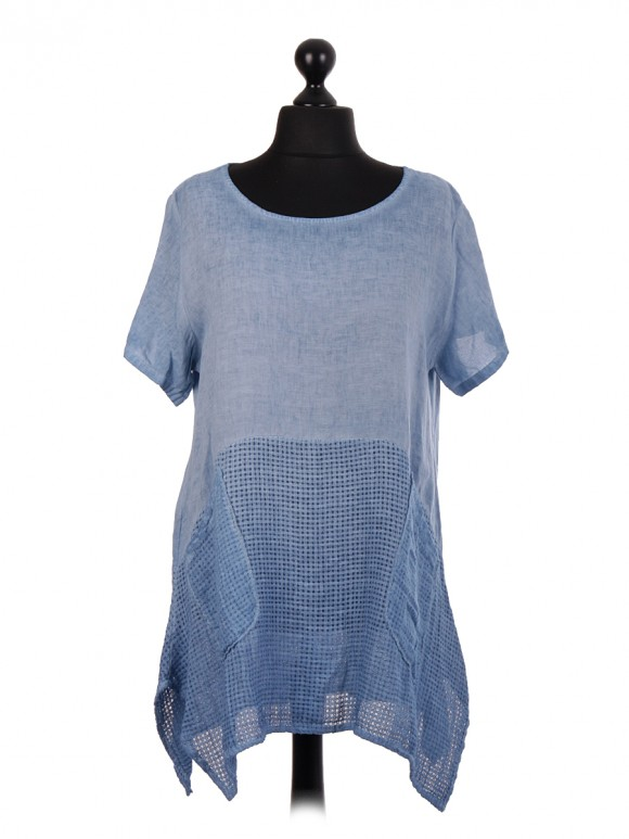 Italian Linen Tunic Top With Mesh Net Panel & Pockets