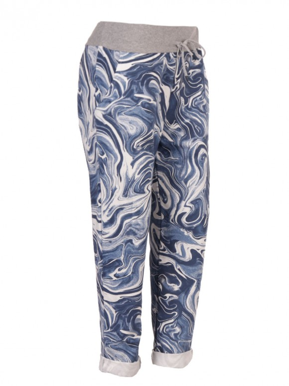 Italian Marble Print Cotton Trousers With Side Pockets