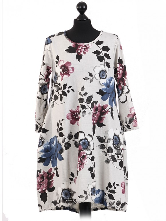 Italian Multi-Color Floral Print Top With Back Tie