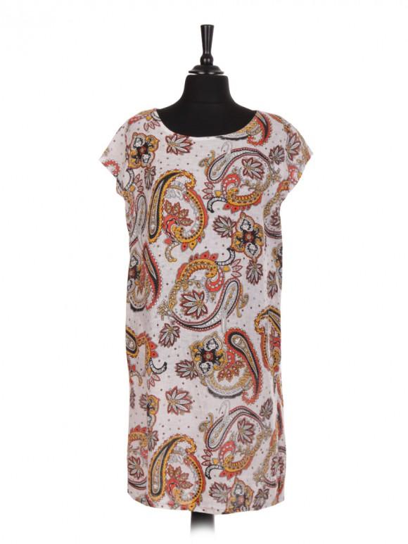 Italian Paisley Print Linen Dress With Side Pockets