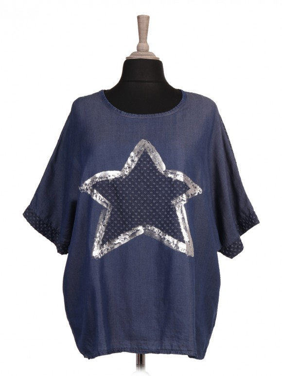 Italian Perforated And Glossy Star Chambray Top