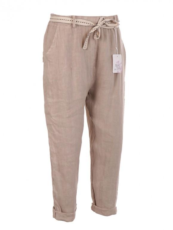 Italian Plain Belted Linen Trouser