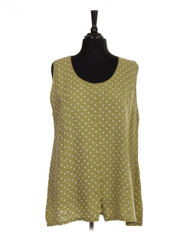 Italian Linen Polka Dot Print Sleeveless Top With Split Hem