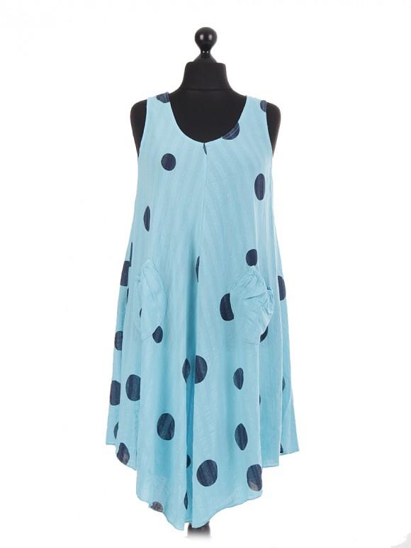 Italian Polka Dot Sleeveless Cotton Dress
