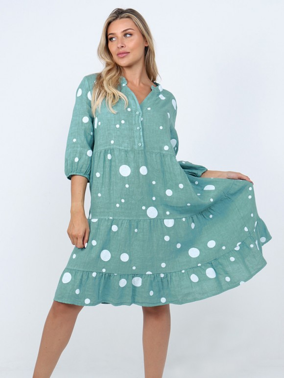 Italian Polka Dot Tiered Flared Linen Dress