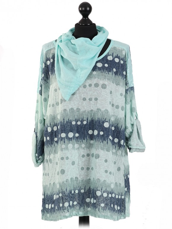 Italian Polka Dot Top With Sequined Shoulders & Scarf-Green