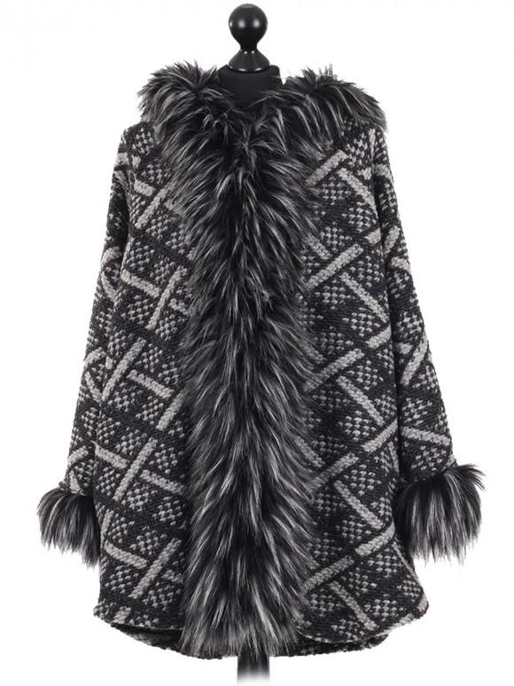 Ladies Woollen Fur Hooded Coat charcoal