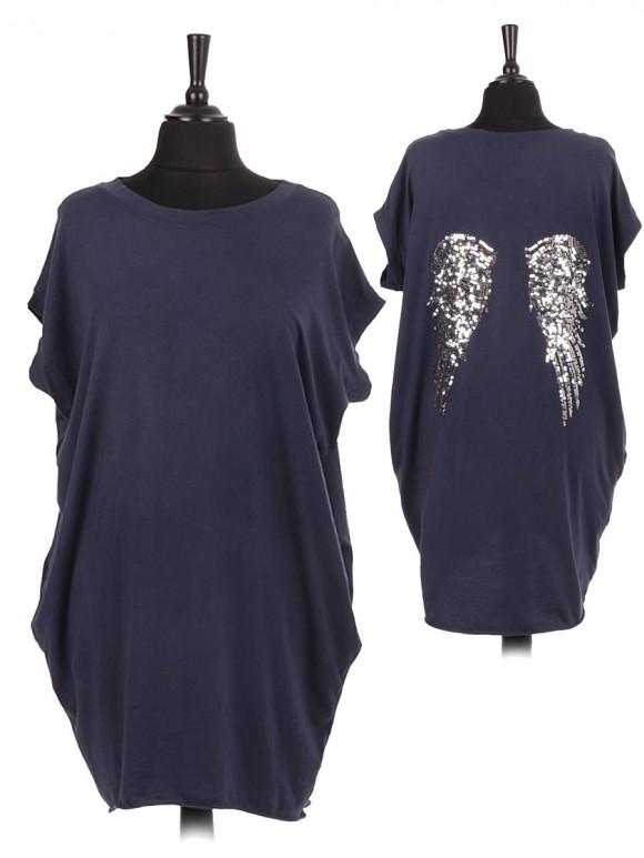 Italian Sequin Embellished Angel Wing Back Dip Hem Top