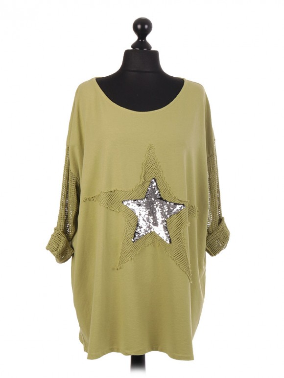Italian Sequin Star Cotton Top With Fish Net Sleeves