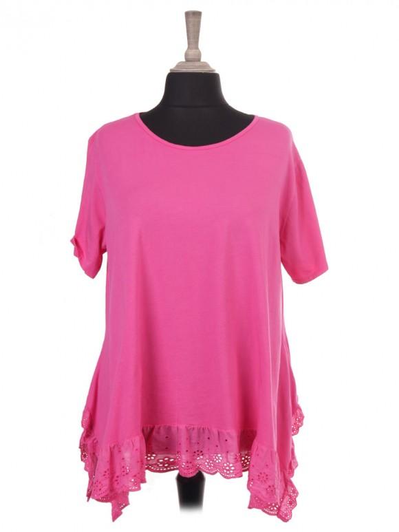Italian Short Sleeve Lace Hem Top Tunic With Side Split