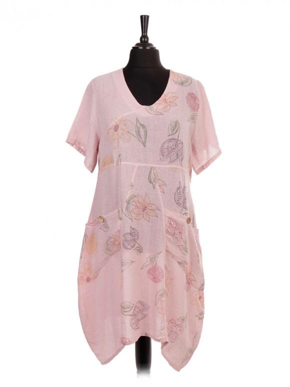 Italian Short Sleeve Linen Floral Lagenlook Dress with Pockets