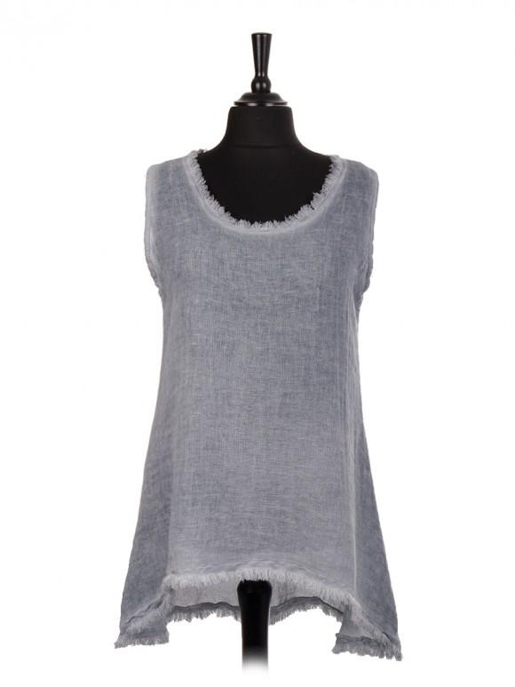 Italian Cold Dye Sleeveless Dip Hem Tunic Top