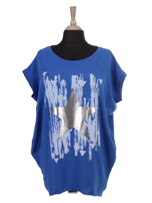 Italian Sleeveless Glossy Star And Brush Stroke Print Batwing Top