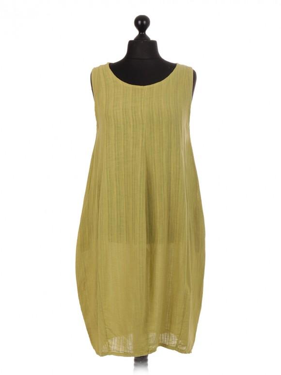 Italian Sleeveless Linen Lagenlook Dress With Side Pockets