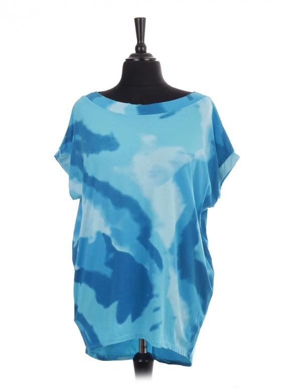 Italian Sleeveless Tie Dye Print Dip Hem Batwing Top