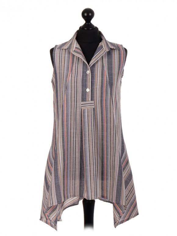 Italian Slim Fit Stripe Pattern Tunic Top