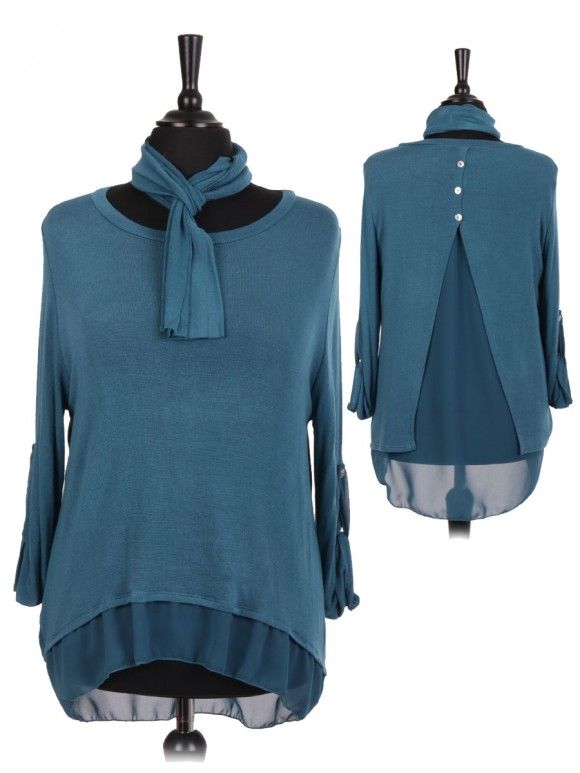 Italian Split Back High Low Knitted Top With Scarf