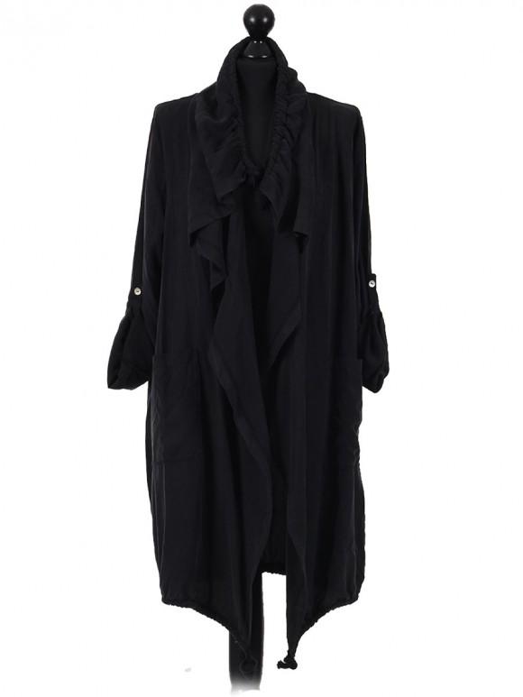 Italian Ladies Waterfall Cardigan With Front pocket black