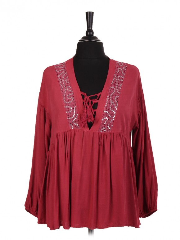 Italian Tassel Tie Blouse With Lace And Sequin Detail