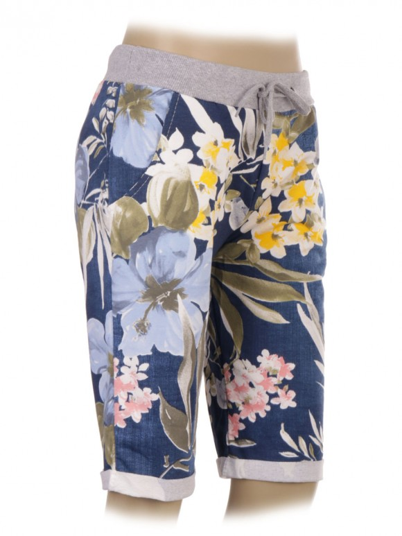 Italian Tropical Print Cotton Shorts