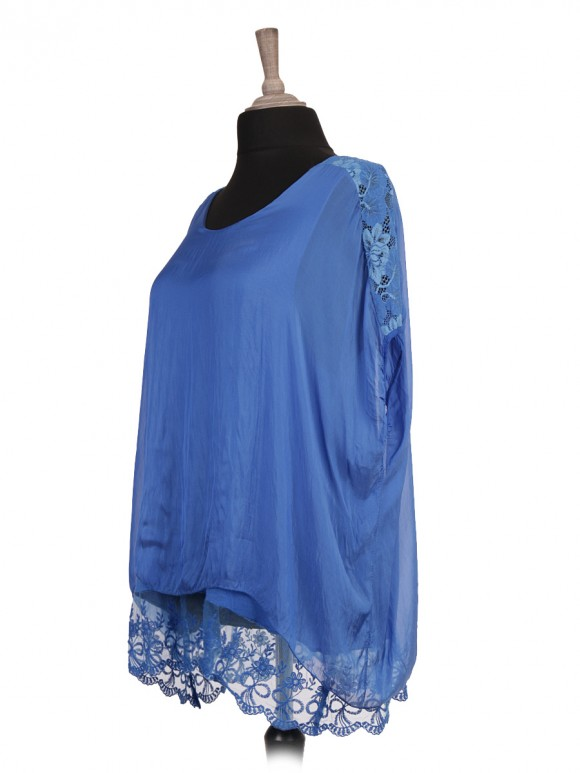 Italian Two Layered Lace Detail Silk Top