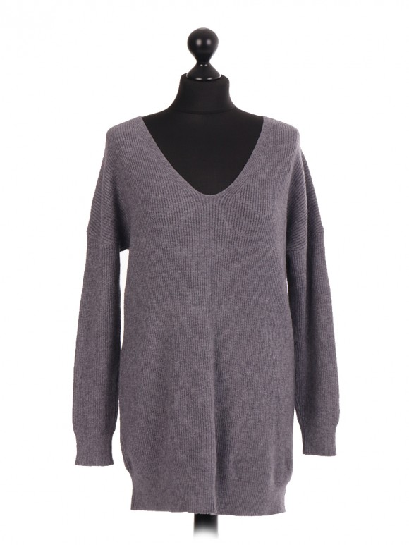 Italian V Neck Jumper With Lace Up Back