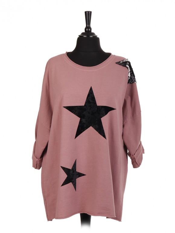 Italian Velvet And Sequin Star Patch Top