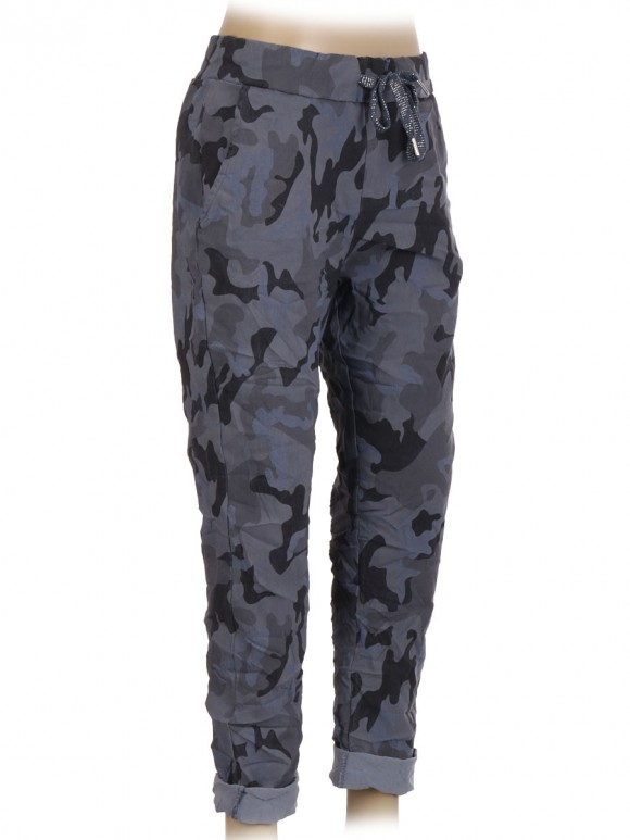 Italian Camouflage Print Cotton Trouser