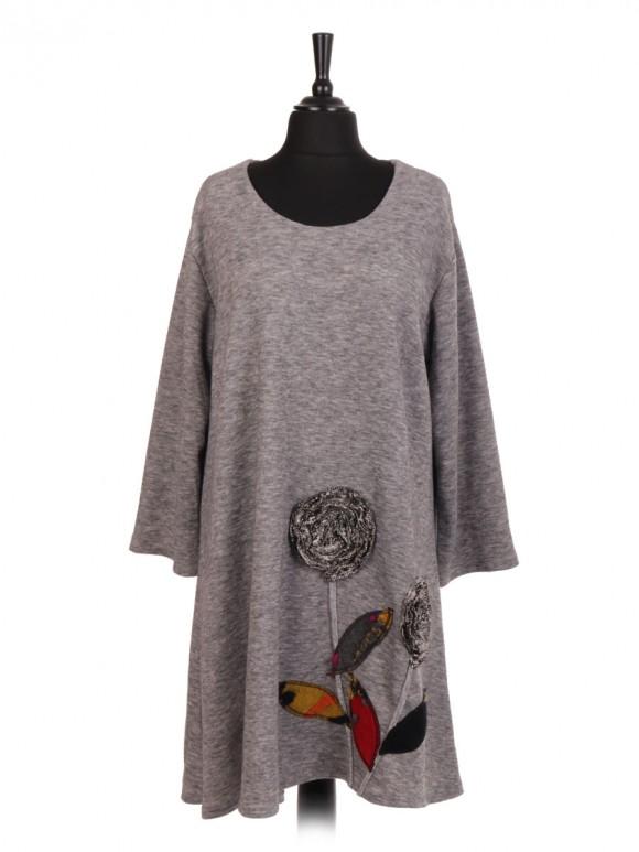 Italian Lana Wool Mix Applique Flower Flared Dress