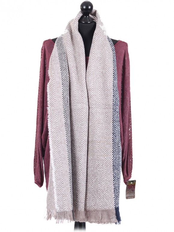 Italian Wool Mix Zig Zag Pattern Oblong Scarf Beige