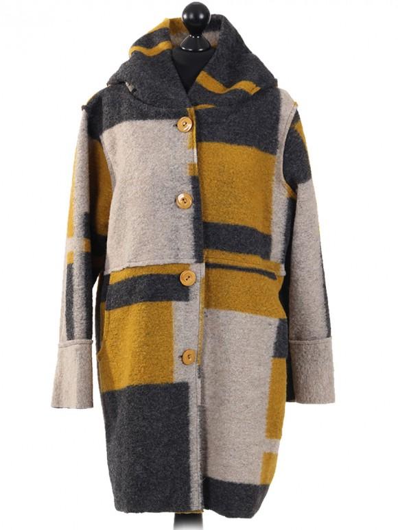 Italian Woolen Block Pattern Hooded Coat Mustard