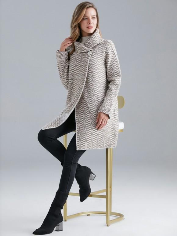 Italian Zig Zag Pattern Wool Mix Wrap Over Knitted Coat