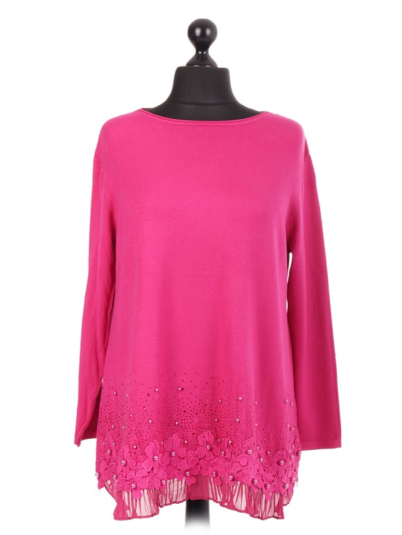Lace Hem Knitted Jumper With Beads