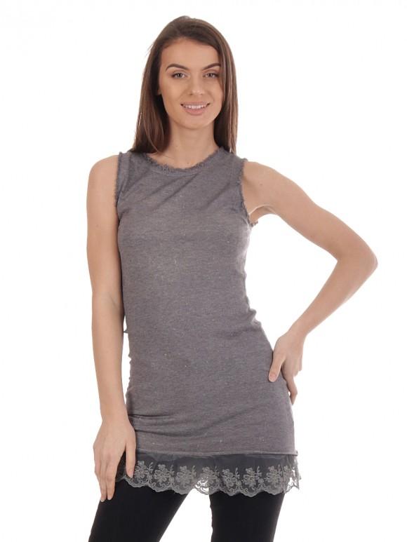 Lace Hem Long Vest Top