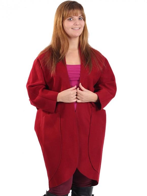 Ladies Wool Mix Front Pocket Maroon