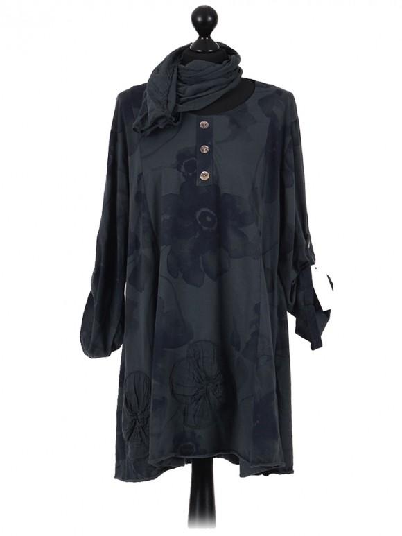 Italian Cotton Sequin Star and Sequin Sleeves Hem Lagenlook Top grey