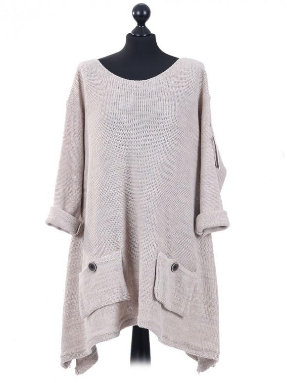 Italian Woollen Knitted Tunic Top Beige