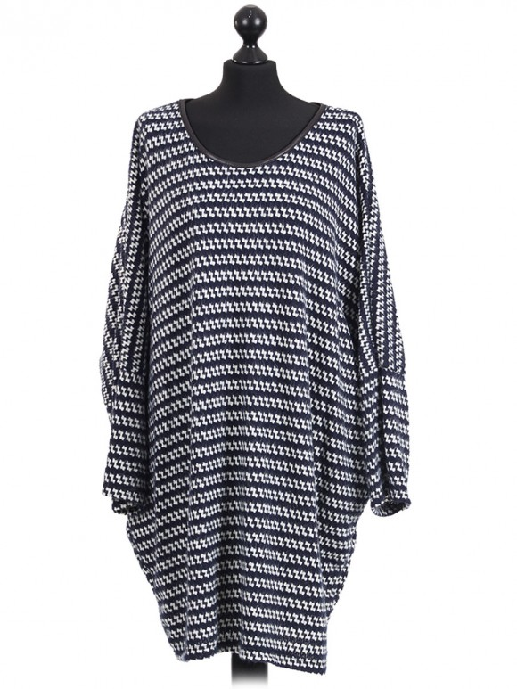 Italian Batwing Knitted Dress Navy