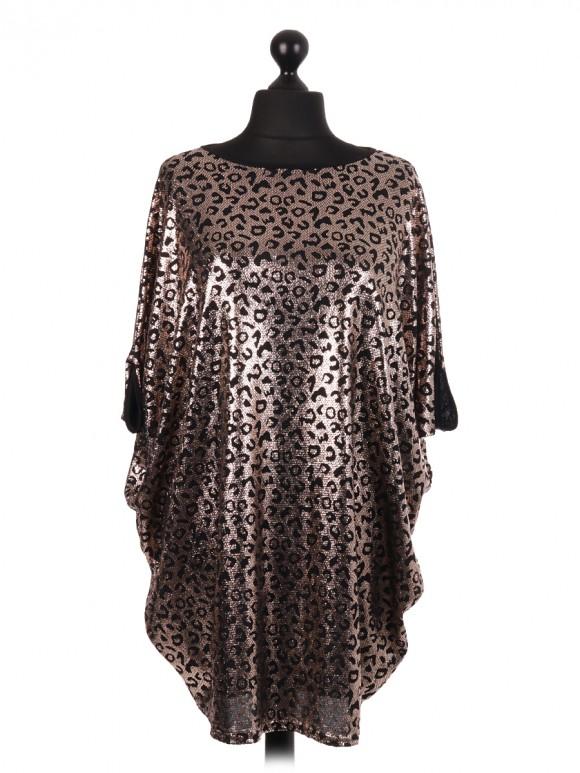 Leopard Pattern Shimmery Batwing Top