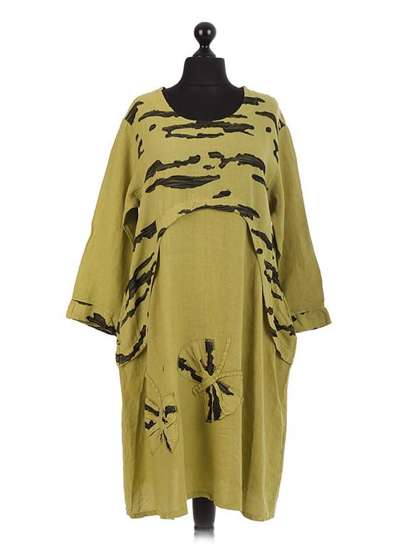 Italian Linen Butterfly Applique Dress