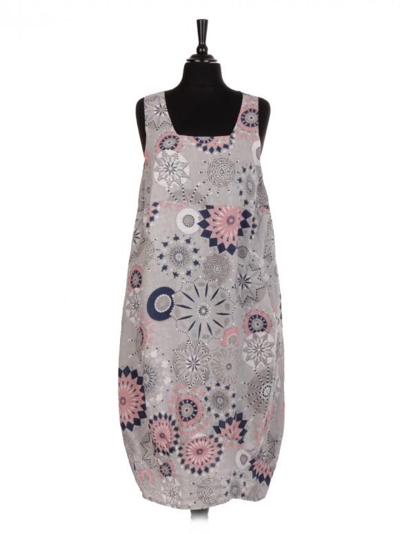 Italian Aztec Print Sleeveless Square Neck Linen Lagenlook Dress