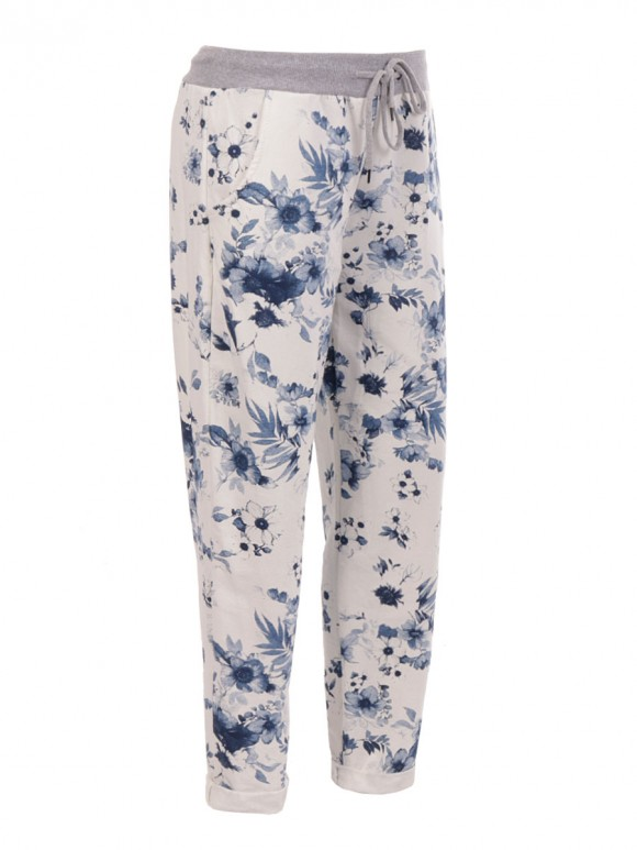 Made In Italy Cotton Floral Print Trouser