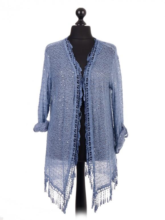 Italian Crochet Net Lace Fringe Kimono