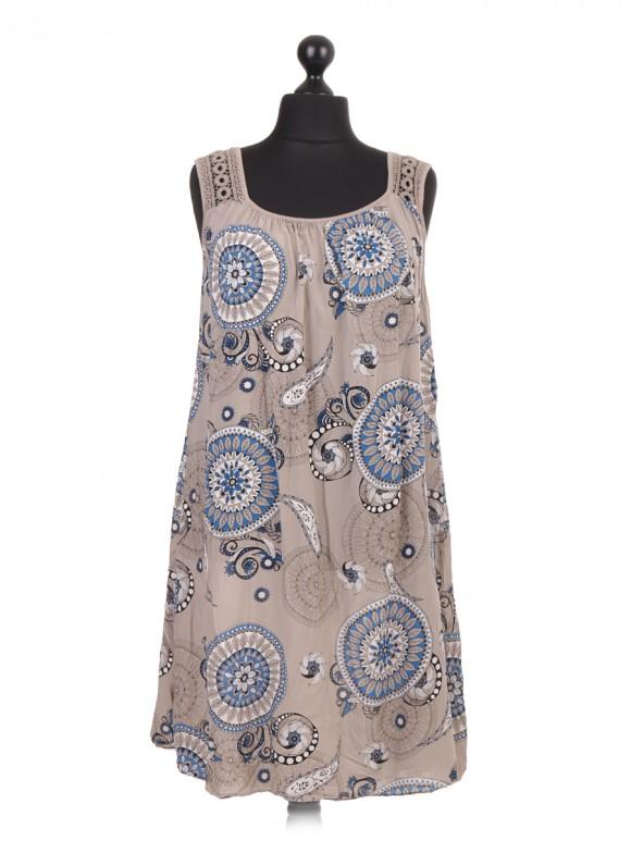 Italian Crotchet Shoulder Aztec Print Dress